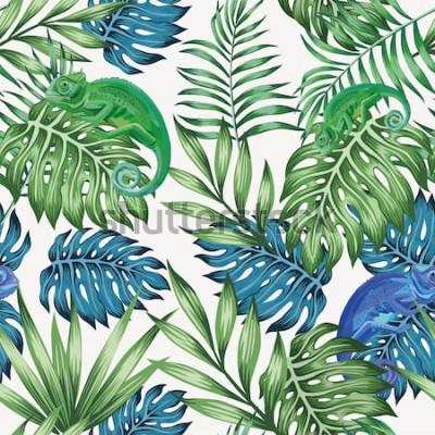 Fotomural Natureza camaleão exótica azul e verde tropical deixa padrão sem emenda no fundo branco do vetor