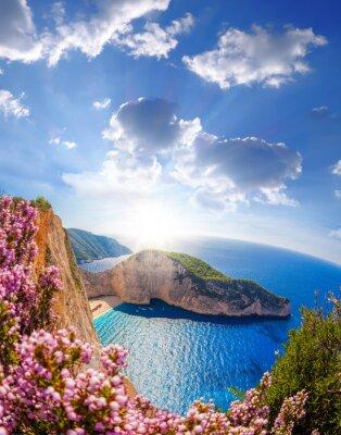 Fotomural Navagio, praia, shipwreck, flores, pôr do sol, Zakynthos, ilha, Grécia