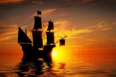 Fotomural Navio antigo pirata velho no oceano calmo no por do sol.