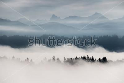 Fotomural Nebuloso, paisagem montanha, em, columbia britânica, canadá