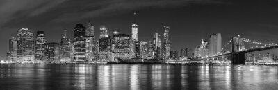 Fotomural New York City preto e branco na imagem panorâmico da noite, EUA.