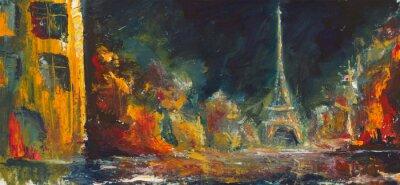 Fotomural Noite paris abstrato. Óleo Original Old City em canvas.Modern