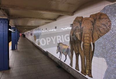 Fotomural NOVA YORK - JULHO 6: Os povos esperam no museu da estação de metro da História natural julho em 6, 2013 em New York. Com 1,67 bilhões de passeios anuais, o metrô de Nova York é o sétimo sistema de met