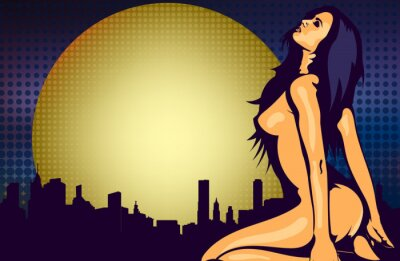 Fotomural Nu mulher perto da janela com vista da cidade noite, modelo de desenho vetorial