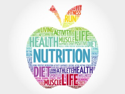 Fotomural Nutrição, maçã, palavra, nuvem, saúde, conceito