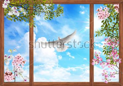 Fotomural Nuvens do céu 3d e bela árvore, quadro de flor