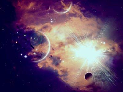 Fotomural Nuvens Espaciais e Planetas