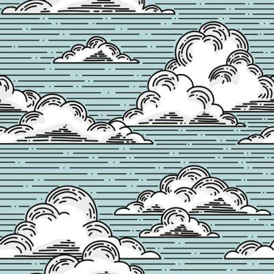 Fotomural Nuvens padrão sem emenda hand-drawn ilustração. Vector o fundo