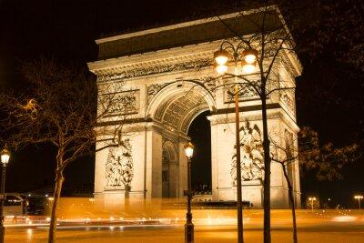 Fotomural O arco triunfal na noite, Paris, France.