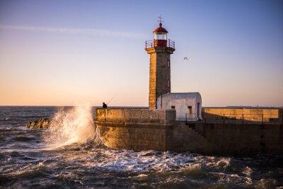 Fotomural O farol do Porto ao pôr do sol