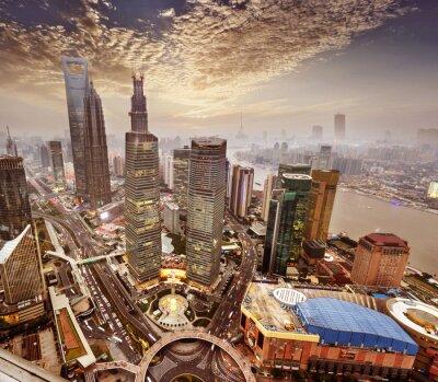 Fotomural o moderno edifício em Xangai, China.