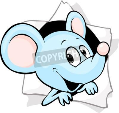 Fotomural O mouse pisou fora de um buraco em um papel
