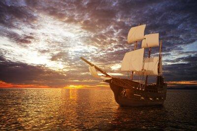 Fotomural O navio antigo no mar