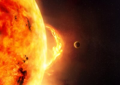Fotomural O sol - alargamento solar. Uma ilustração da explosão do sol e do sol com um planeta para dar a escala ao tamanho do alargamento.