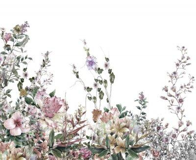 Fotomural O sumário floresce a pintura da aguarela. Primavera flores multicores