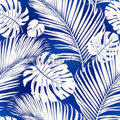 Fotomural O teste padrão de repetição sem emenda com as silhuetas brancas da palmeira sae no fundo azul.