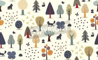 Fotomural O vetor ilustrou o teste padrão sem emenda de elementos lisos da floresta - várias árvores, animais selvagens e sementes.