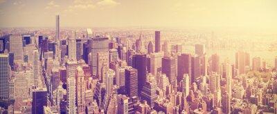 Fotomural O vintage tonificou a skyline no por do sol, NYC, EUA de Manhattan.
