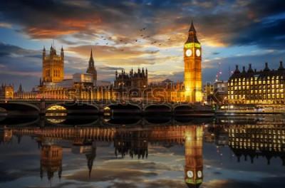 Fotomural O, westminster, palácio, e, a, big ben, clocktower, por, a, rio thames, em, londres, reino unido, apenas, após, pôr do sol