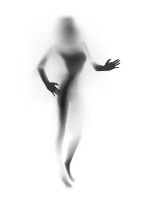 Fotomural Obscurecido sexy mulher silhueta, mãos. Ilustração do vetor.