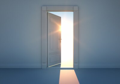 Fotomural Offene Tür mit Sonnenlicht