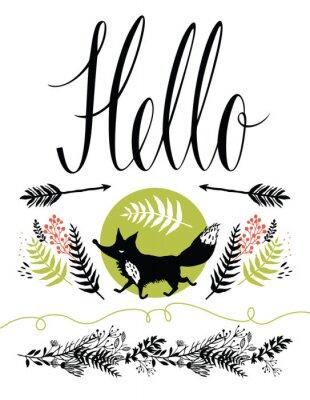 Fotomural Olá design da capa cartão postal. Raposa e florestais ervas felizes, setas