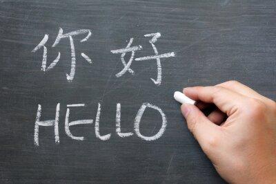 Fotomural Olá - palavra escrita em um quadro negro borrado