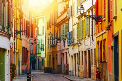 Fotomural Old colorful street in Parma, Emilia-Romagna, Italy