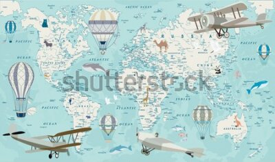 Fotomural Old geography travel map with regional animals and aircrafts. Vector.