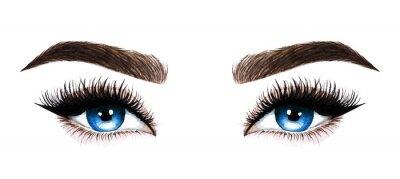 Fotomural Olhos de mulher com cílios longos. Mão-extraídas ilustração aquarela. Pestanas e sobrancelhas. Design para extensões de cílios, microblading, rímel, salão de beleza, cosméticos, maquiador. Olhos azuis