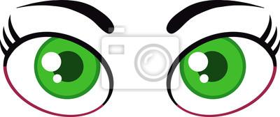 Olhos Verdes Dos Desenhos Animados Mulher Ilustracao Isolada