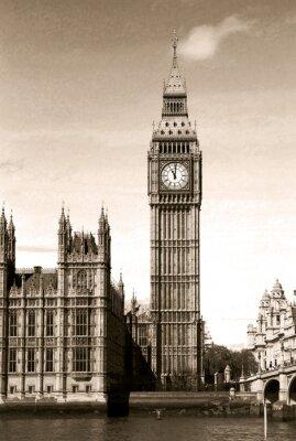 Fotomural Opinião do vintage da Big Ben torre do relógio de Londres. Sepia tonificado.