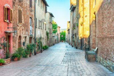 Fotomural Opinião medieval da rua em Certaldo, Italy.