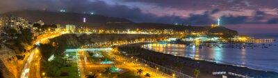 Fotomural Opinião panorâmico de HDR a baía de Chorrollos em Lima, Peru.
