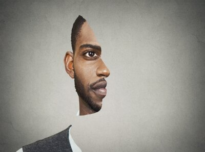 Fotomural Optical illusion portrait front with cut out profile of man
