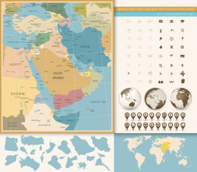 Fotomural Oriente Médio e Ásia Ocidental Mapa Vintage Cores