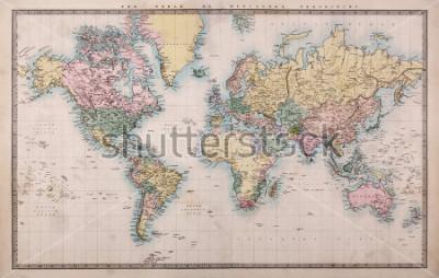 Fotomural Original antigo mapa colorido do mundo na projeção Mercators cerca de 1860, os países são nomeados como são então ou seja, Pérsia, Arábia, etc algumas manchas são vistas para um mapa com mais de 1