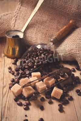 Fotomural Os ingredientes e utensílios para fazer café