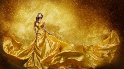 Fotomural Ouro Vestido Modelo, Mulher Seda Dourada Tecido Fluindo