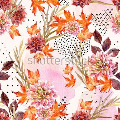 Fotomural Outono aquarela floral padrão sem emenda. Fundo com flores da dália, folhas, formas geométricas cheias de textura doodle. Entregue a ilustração tirada da arte da aquarela para o projeto da queda.