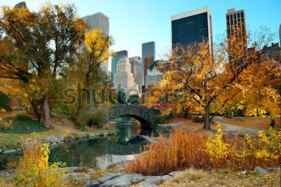 Fotomural Outono do Central Park e edifícios no centro de Manhattan New York City