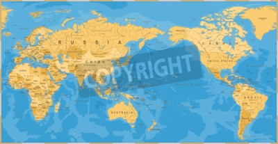 Fotomural Pacífico político do mapa do mundo do vintage centrado - vetor.
