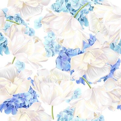 Fotomural Padrão azul da tulipa Hidrangea