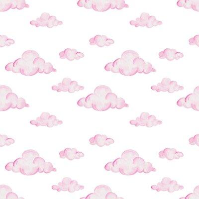 Fotomural Padrão da festa do bebé da aguarela. Nuvens cor-de-rosa no fundo branco. Para design, impressão ou fundo