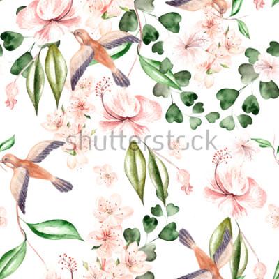 Fotomural Padrão de aquarela com flores da primavera, folhas de eucalipto e pássaros. Ilustração
