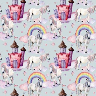 Fotomural Padrão de aquarela com unicórnios e decoração de conto de fadas. Cavalos mágicos pintados à mão, castelo, arco-íris, nuvens, estrelas isoladas no fundo branco. Papel de parede bonito para design, impr