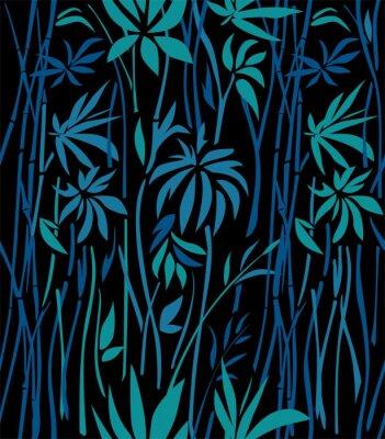 Fotomural Padrão de arvoredos de bambu de folhas de esmeralda e ramos azuis sobre um fundo preto