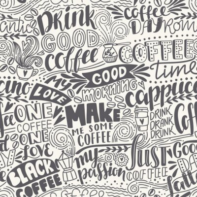 Fotomural Padrão de café em letras sem costura com citações. Ilustração desenhada mão do vetor
