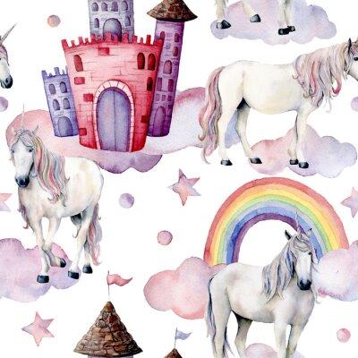 Fotomural Padrão de conto de fadas aquarela com unicórnios. Cavalos mágicos pintados à mão, castelo, arco-íris, nuvens, estrelas isoladas no fundo branco. Papel de parede bonito para design, impressão ou plano