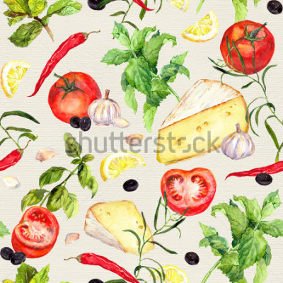 Fotomural Padrão de cozinha com queijo, tomate, alho, especiarias e ervas. Repetindo o fundo de cozimento. Aquarela